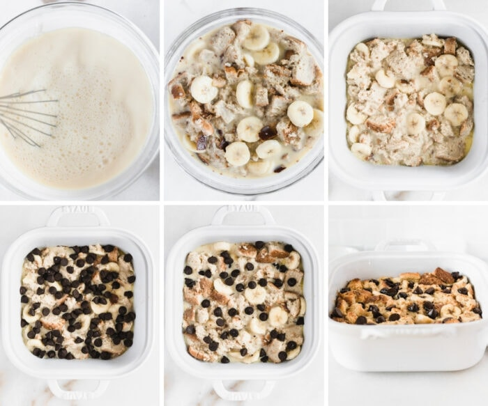 six image collage showing steps for making bourbon banana chocolate chip bread pudding.