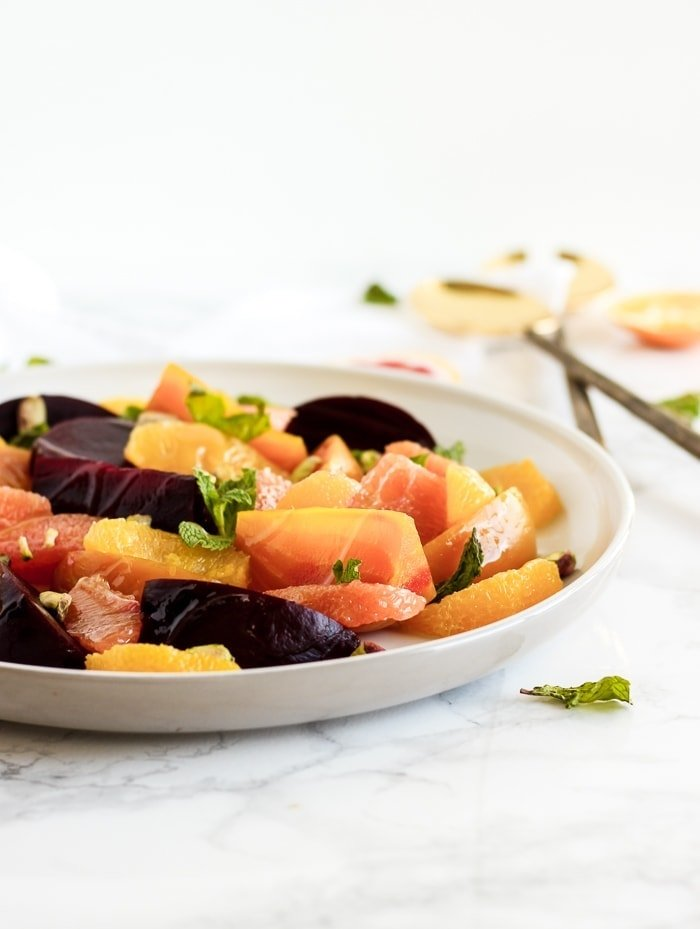 Citrus beet salad with pistachios and mint
