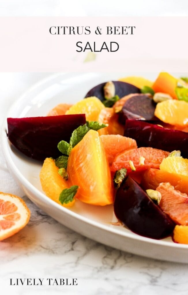 Add a pop of color and nutrition to your table with this gorgeous citrus beet salad with mint and pistachios! (#glutenfree, #vegetarian) #citrus #oranges #beets #salad #sidedish #dairyfree