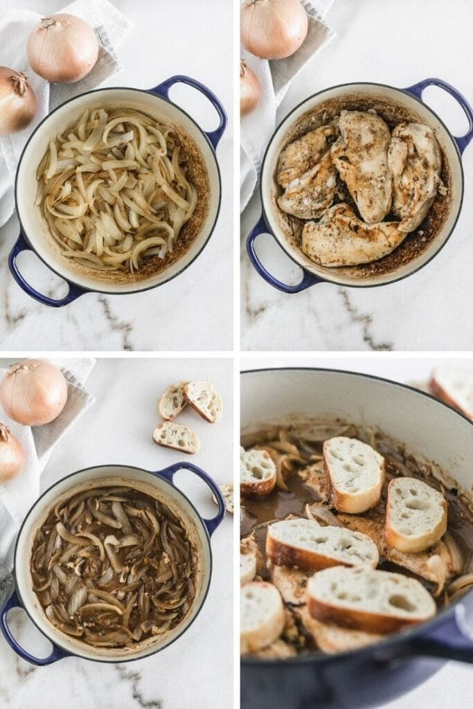 steps to make french onion chicken in a skillet.