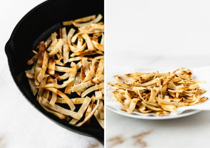collage showing how to make fried tortilla strips.
