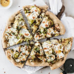 Gluten Free Caramelized Onion Brussels Sprout Pizza