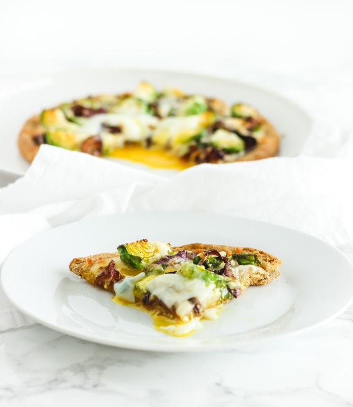gluten free caramelized onion brussels sprout pizza with egg