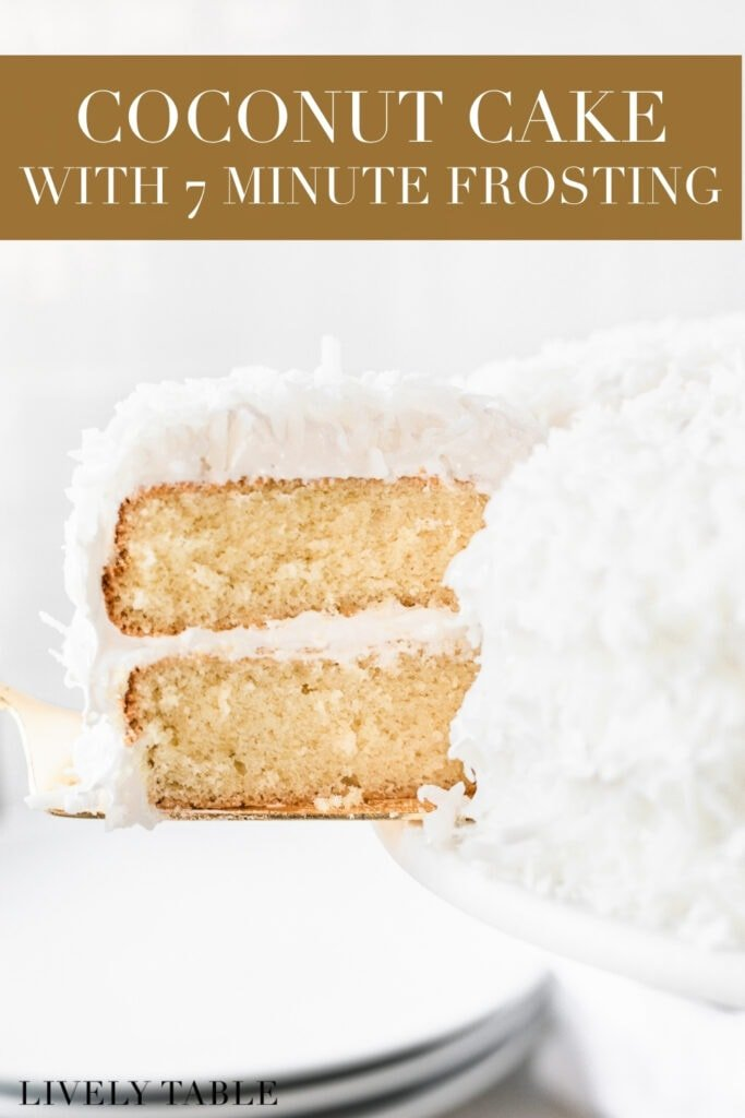 slice of coconut cake being cut from a full cake with text overlay.