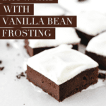 Intensely rich, fudgy Guinness brownies with vanilla bean cream cheese frosting are the perfect St. Patrick's Day dessert, or a fun treat that any beer lover will enjoy! #brownies #guinness #beer #dessert #recipes #chocolate