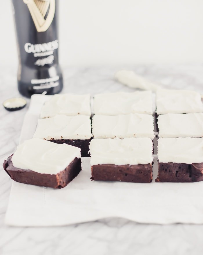 fudgy guinness brownies cut into squares