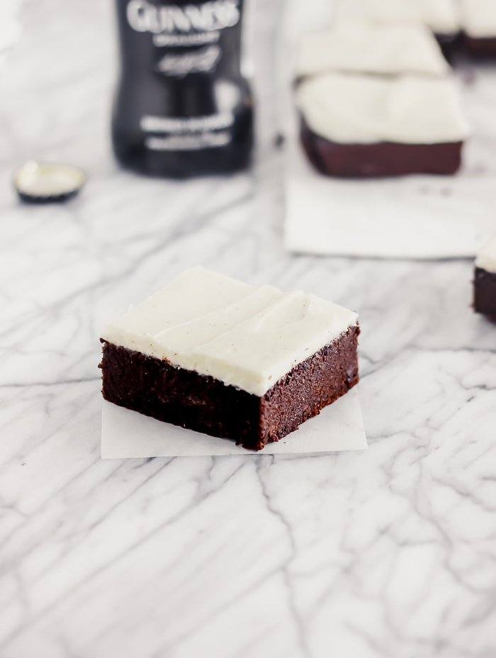 fudgy guinness brownie with vanilla bean cream cheese frosting