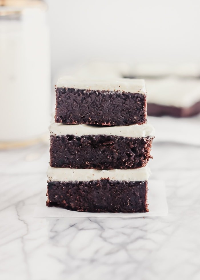 fudgy guinness brownies stacked