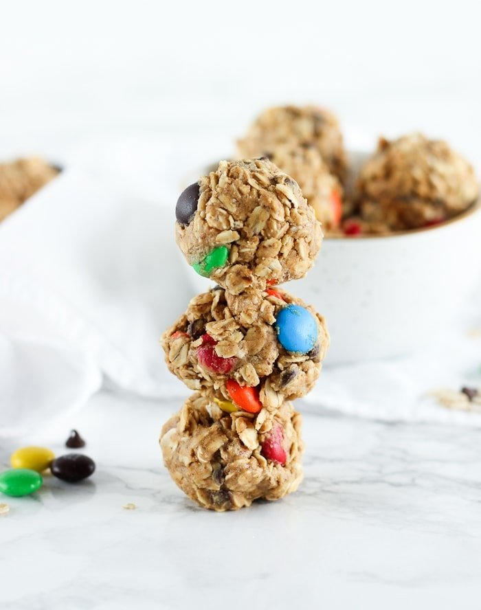 no bake monster cookie snack bites stacked