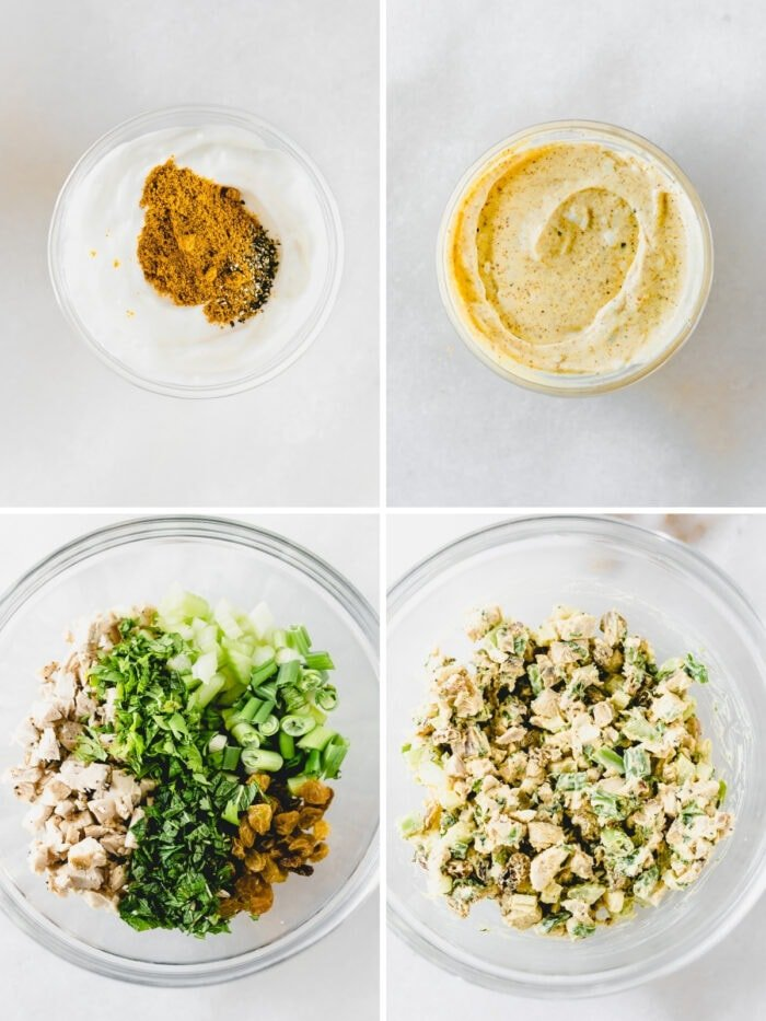 four image collage showing steps to making coconut curry chicken salad.