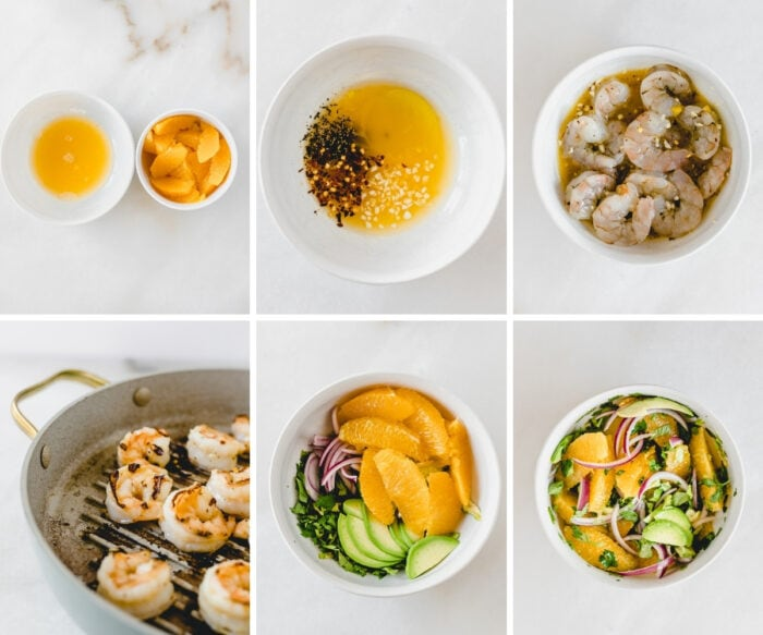 six image collage showing steps for making a shrimp, orange and avocado quinoa salad.