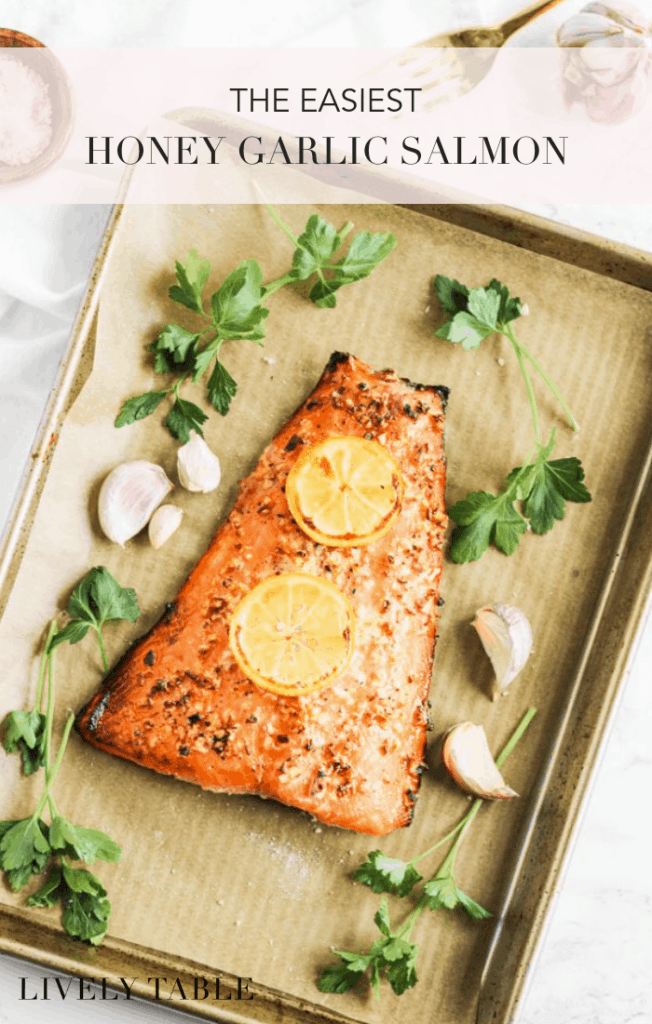 This quick and easy 3 ingredient Honey Garlic Salmon is a healthy and delicious salmon recipe that will turn anybody into a salmon lover! It's a great weeknight dinner option. (#glutenfree, #dairyfree, #nutfree) #salmon #dinner #easy #weeknightmeals #3ingredients #seafood #fish