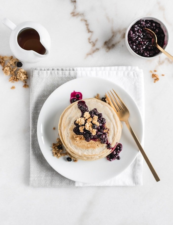 No Added Sugar Blueberry Muffin Pancakes