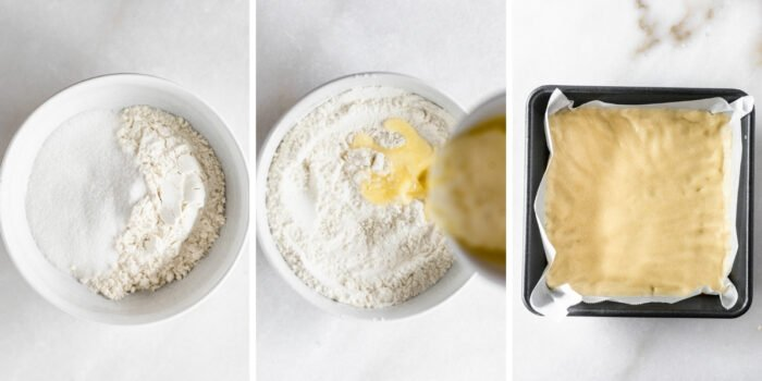three image collage showing steps for making an easy lemon bar crust.