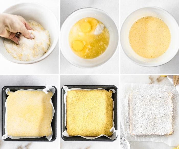 six image collage showing steps for making lavender lemon bar filling.