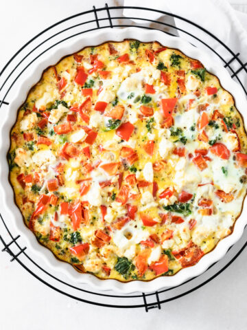 red pepper kale and feta frittata