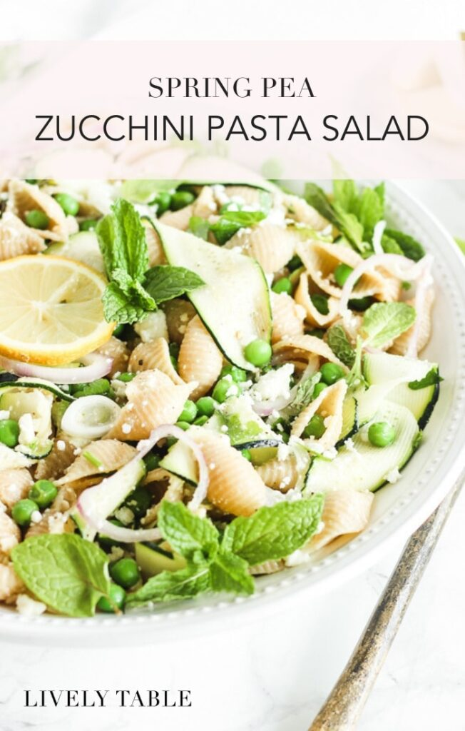 spring pea and zucchini pasta salad #easy #recipe #healthy