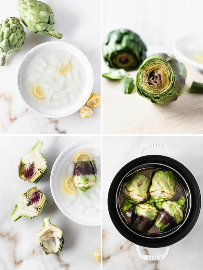 four image collage showing steps for prepping fresh artichokes.