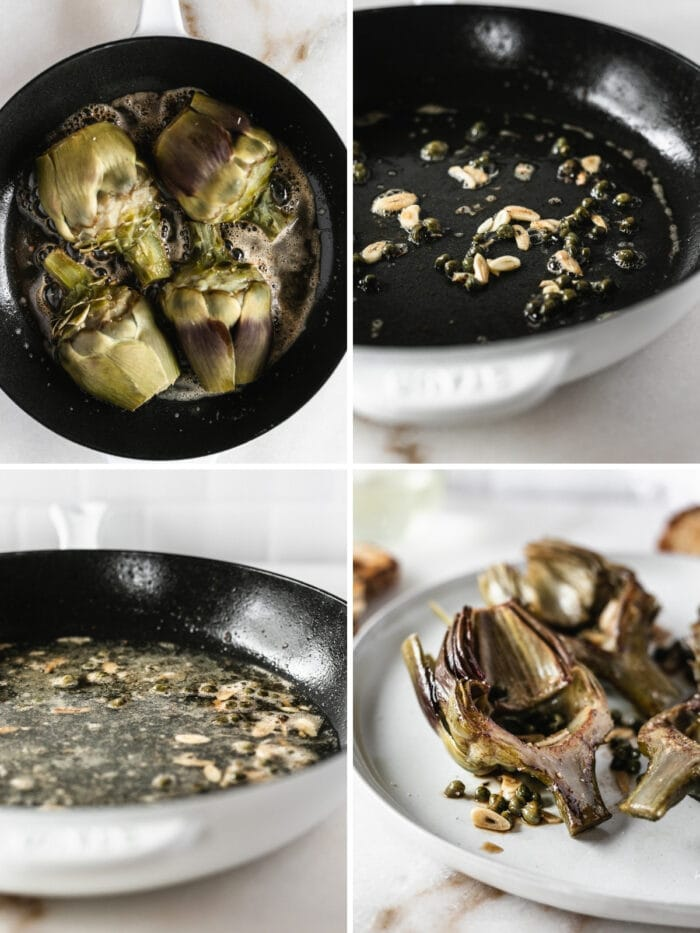 four image collage showing steps for making artichokes with white wine sauce in a skillet.