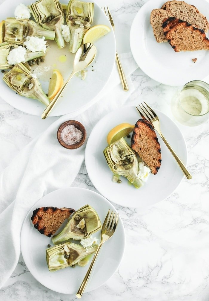 Instant Pot Artichokes with White Wine, Capers and Burrata