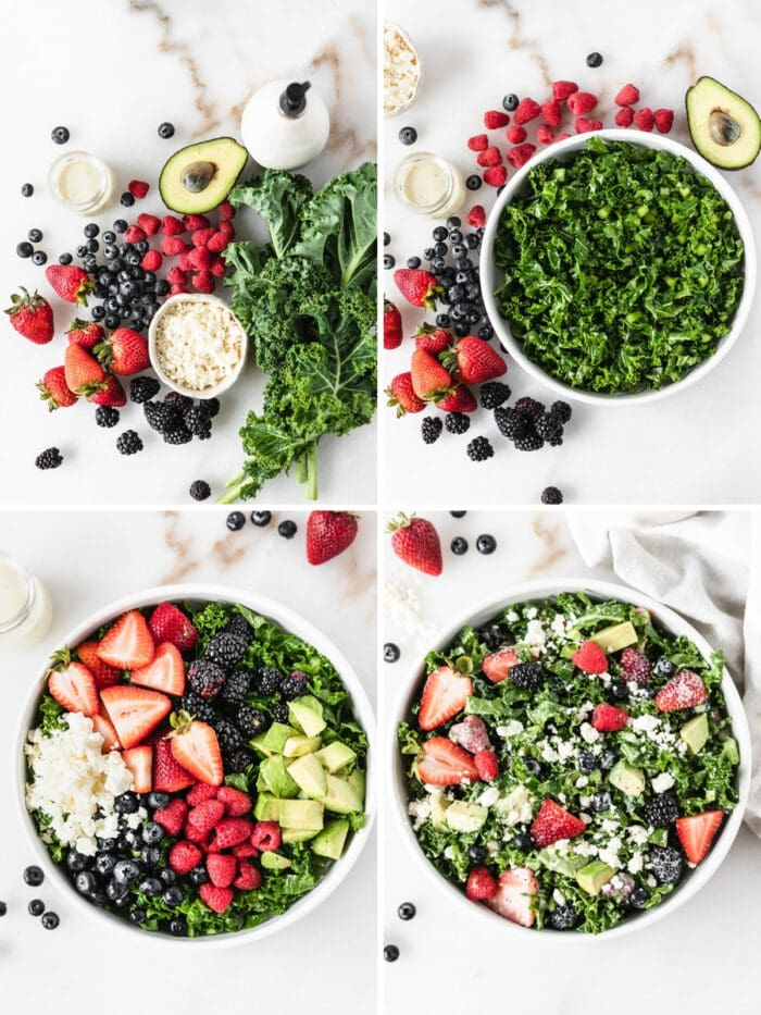 four image collage showing steps for making a berry avocado kale salad.