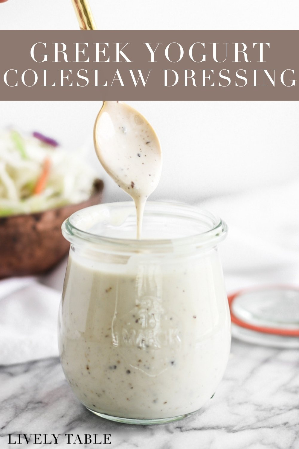 Creamy Greek Yogurt Coleslaw Dressing is incredibly easy to make with just a few pantry staples, and yields delicious, healthier coleslaw every time! #glutenfree #nutfree #greekyogurt #sauces #dressing #coldslaw #easy #under10minutes