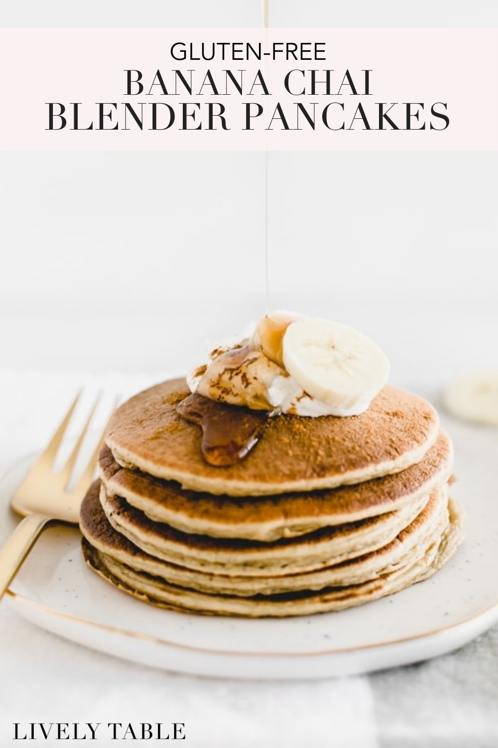 Wake up to a nutritious and delicious breakfast with these gluten-free banana chai blender pancakes with no added sugar. Made with simple ingredients in just minutes, they are a great way to start your day! #glutenfree #noaddedsugar #nutfree #pancakes #breakfast #brunch #banana #chai #blenderrecipes #easy