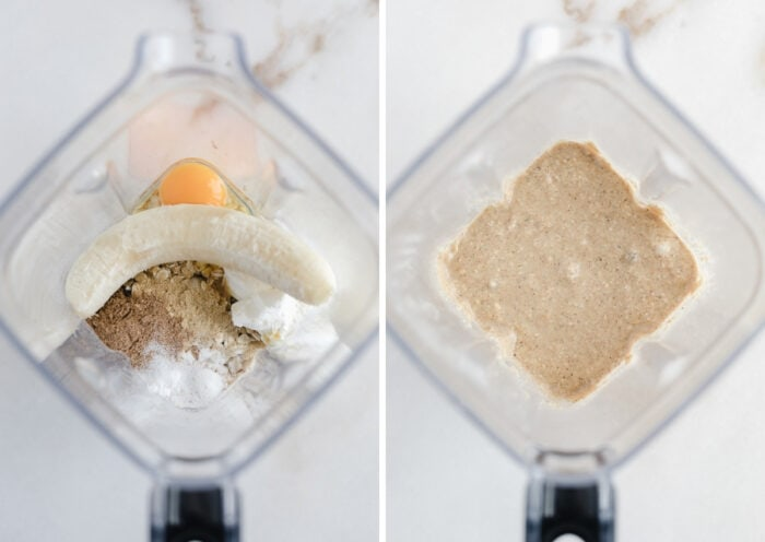 two side by side images of banana pancake batter being made in the blender.