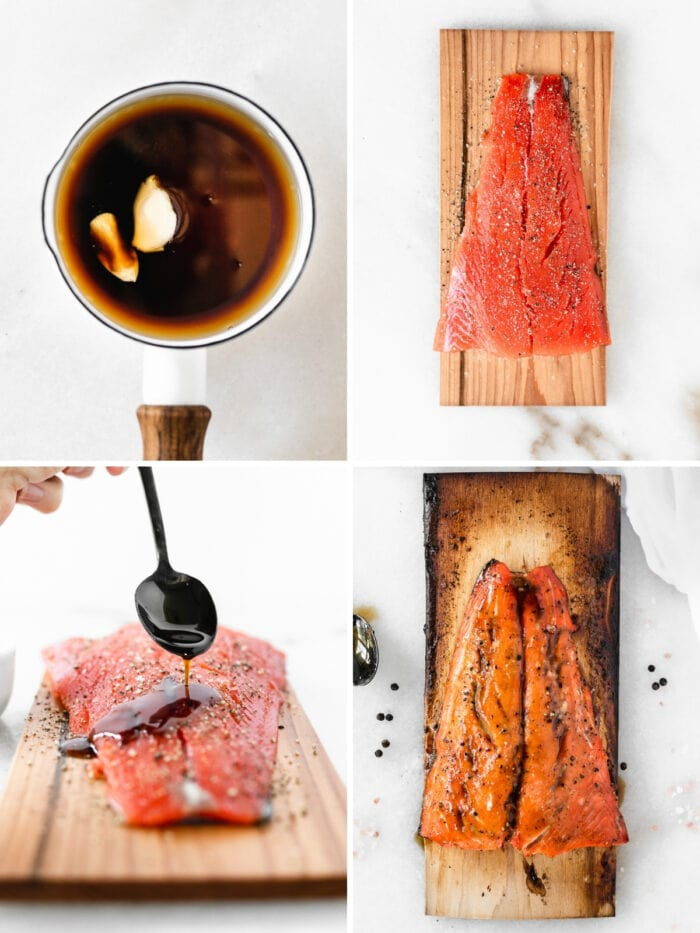 four image collage showing steps for making bourbon glazed cedar plank salmon.