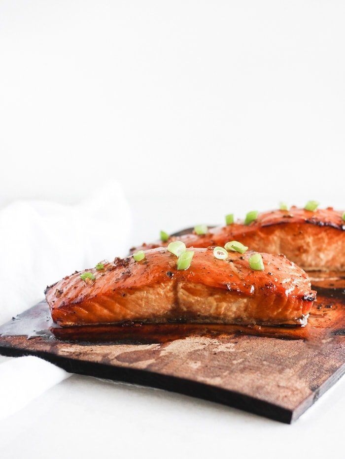 grilled bourbon glazed cedar plank salmon