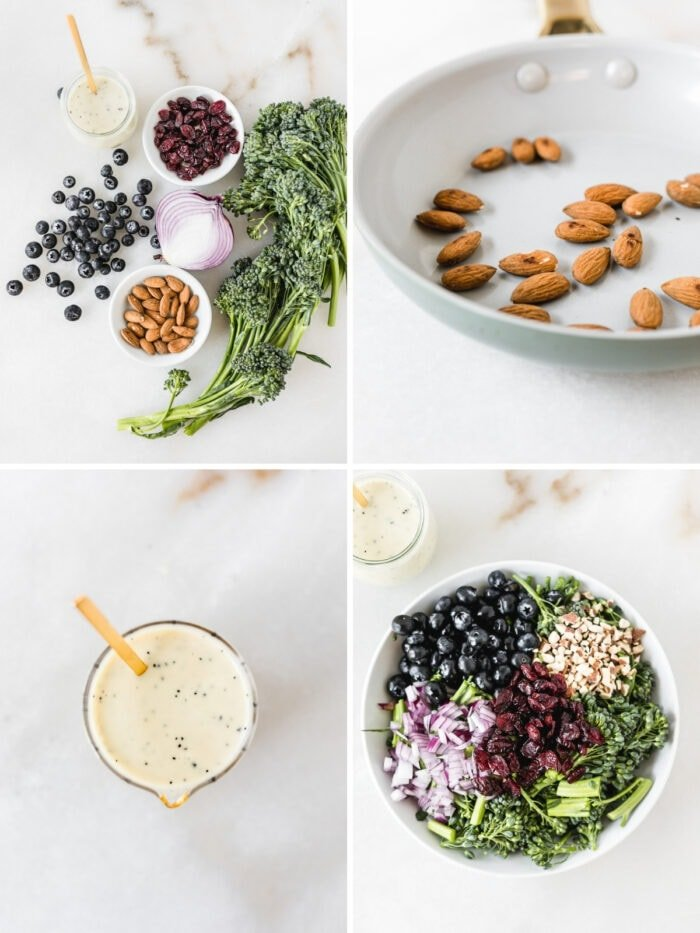 four image collage showing steps for making broccolini superfood salad.