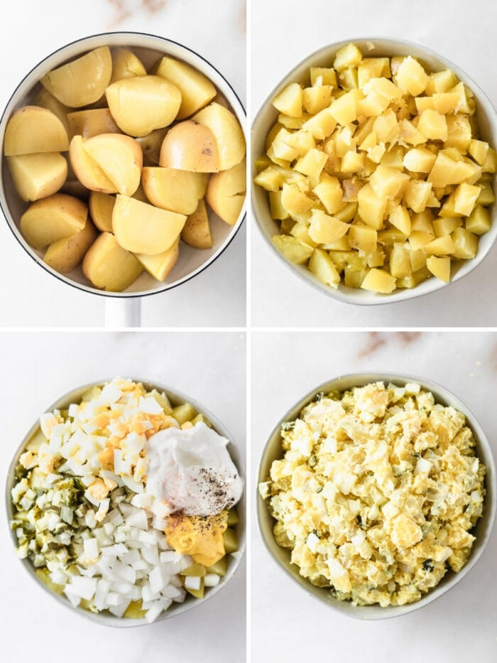 four image collage showing steps for making healthy mustard potato salad.