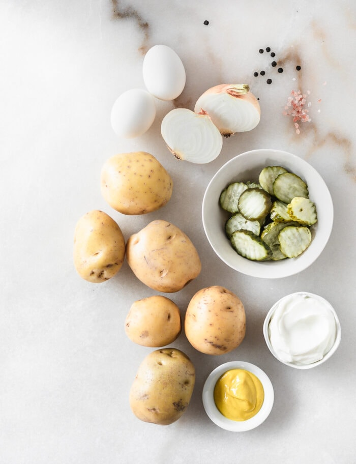 overhead view of ingredients needed to make healthy mustard potato salad.