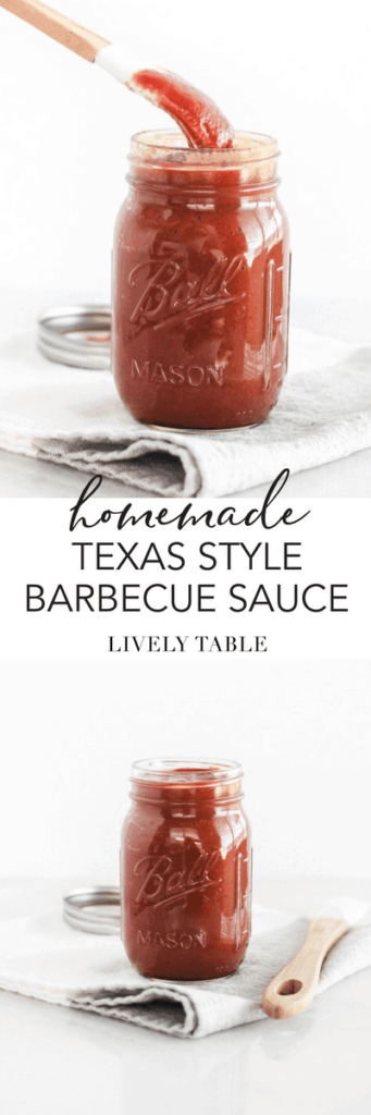 This homemade Texas style barbecue sauce is thick, a little spicy, a little sweet and a little smoky. Made with no ketchup and no refined sugar, it's the perfect BBQ sauce for all of your summer grilling needs! #BBQsauce #texas #BBQ #barbecue #sauce #easy #norefinedsugar #noketchup #summer #grilling #cookout