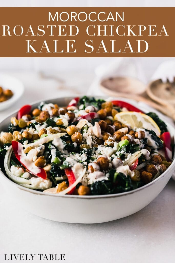 Moroccan chickpea kale salad drizzled with tahini dressing in a grey bowl with text overlay.