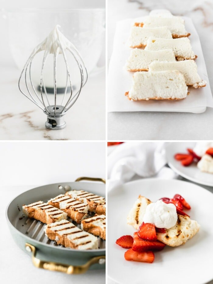 four image collage of whipped cream on a whisk, sliced angel food cake, cake slices on a grill pan, and assembled cake with strawberries and whipped cream.