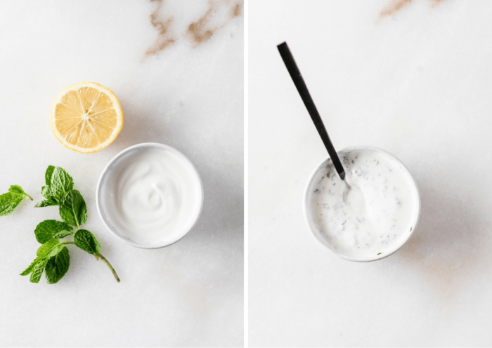 two image collage showing ingredients for lemon mint yogurt sauce and the finished sauce.