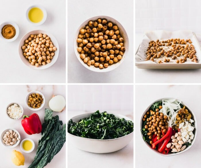 six image collage showing steps for making moroccan roasted chickpea kale salad.