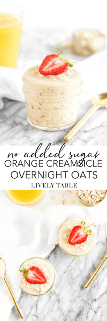 These super easy 5-ingredient, no added sugar Orange Creamsicle Overnight Oats are a nutrient-rich, healthy make-ahead breakfast to help you start your day with a balanced meal, even when you're in a hurry! (AD) (#noaddedsugar, #glutenfree, #nutfree) #overnightoats #orangecreamsicle #makeahead #breakfast #healthy #FLOJ #AmazingInside