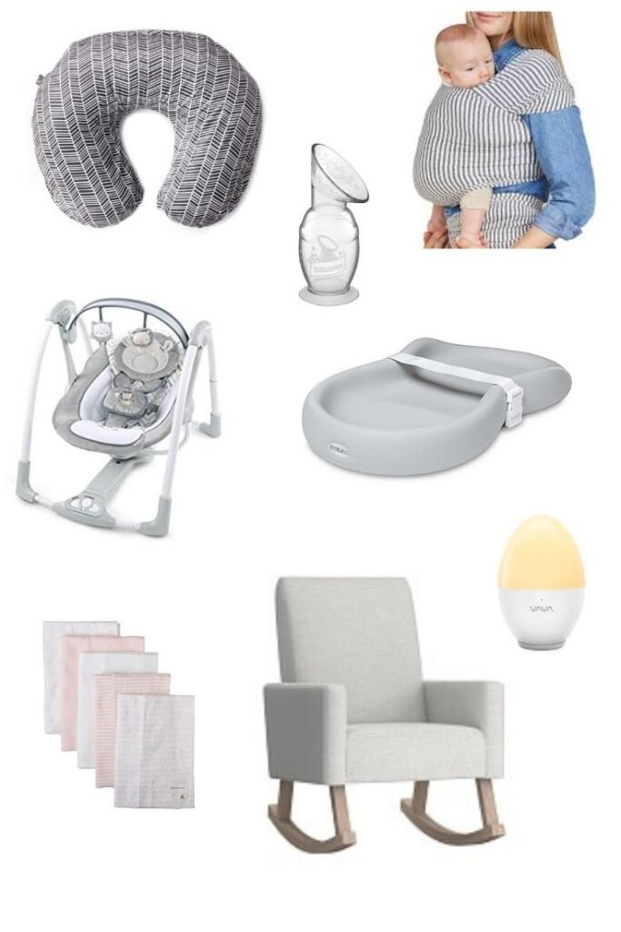 a roundup image of newborn essentials for first time moms
