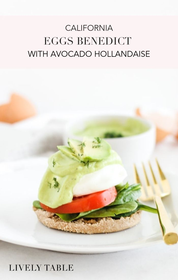 Vegetarian California Eggs Benedict with Avocado Hollandaise are a healthier version of the classic eggs benedict brunch, made with whole grain English muffins, poached eggs, fresh veggies, and a creamy, delicious avocado hollandaise sauce that's so easy to make! #vegetarian #dairyfree #nutfree #brunch #breakfast #eggsbenedict #yolkporn #avocado #easy #recipes