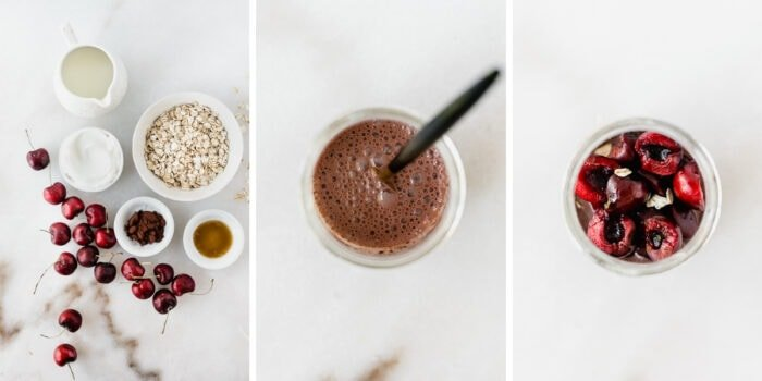 three image collage showing steps for making Black forest overnight oats.