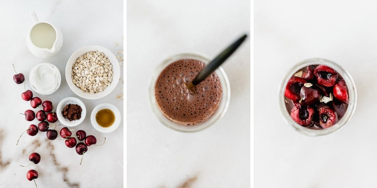 Black forest overnight oats with creamy dark chocolate oatmeal and dark sweet cherries are an easy, healthy make ahead breakfast that tastes like dessert! #glutenfree #vegetarian #overnightoats #blackforest #chocolate #cherry #healthy #mealprep #makeahead #breakfast