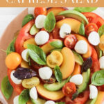 This peach avocado caprese salad combines all the best of summer produce - tomatoes, peaches, avocado and basil with fresh mozzarella for a gorgeous loaded version of the classic summer caprese. It's the ultimate effortless summer side dish! #glutenfree #nutfree #vegetarian #caprese #summer #salad #avocado #sidedish #healthy #recipes