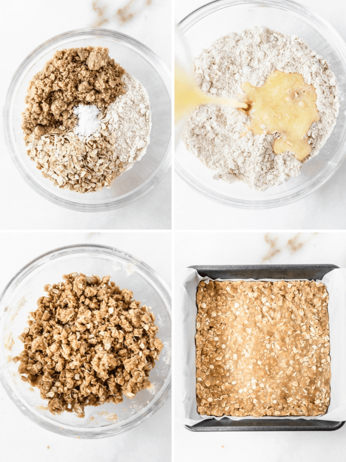 four image collage showing steps for making oatmeal crumble crust.