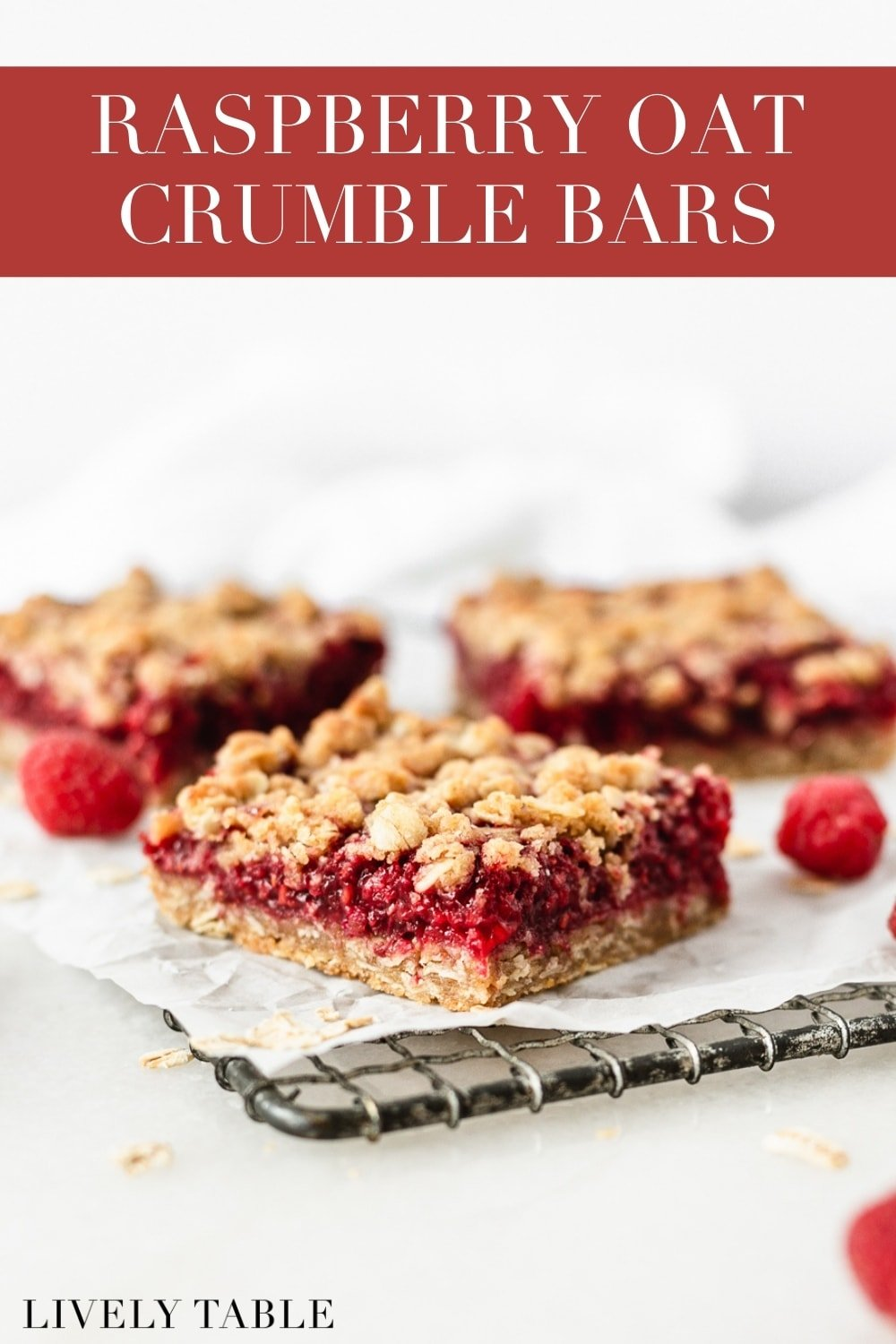 Raspberry Oat Crumble Bars made with real raspberries and whole grain oats and flour are decadent, wholesome, and the perfect simple summer dessert! #vegetarian #nutfree #dairyfree option #AD #raspberry #crumble #dessert #wholegrain #summer #recipe #bars #bobsredmill