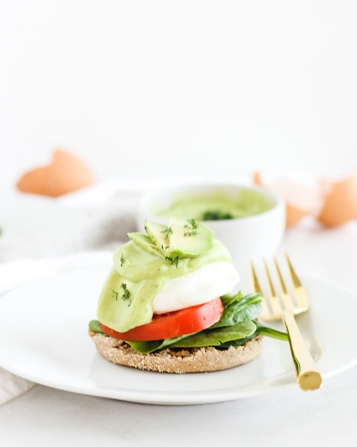 california eggs benedict with avocado hollandaise
