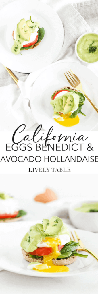 Vegetarian California Eggs Benedict with Avocado Hollandaise are a healthier version of the classic eggs benedict brunch, made with whole grain English muffins, poached eggs, fresh veggies, and a creamy, delicious avocado hollandaise sauce that's so easy to make! (#vegetarian, #dairyfree, #nutfree) #brunch #breakfast #eggsbenedict #yolkporn #avocado #easy #recipes
