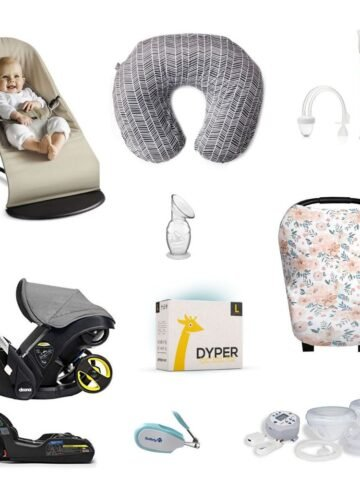 a roundup image of newborn essentials moms of 2 under 2.