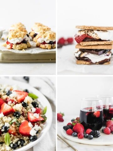 four image collage of naturally red white and blue recipes.